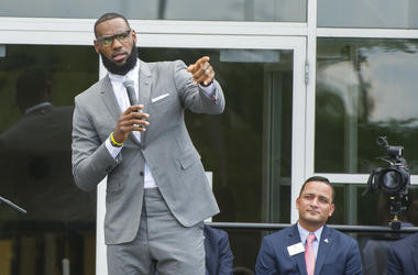 LeBron James speaks at the opening ceremony for the I Promise School in Akron, Ohio, Monday, July 30, 2018. The I Promise School is supported by the The LeBron James Family Foundation and is run by the Akron Public Schools.