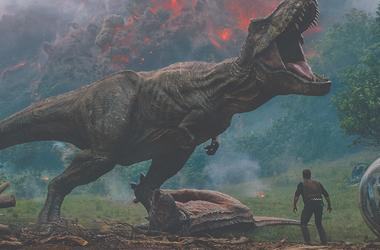 "Owen (CHRIS PRATT) meets the vicious T. rex in ""Jurassic World: Fallen Kingdom."" When the island's dormant volcano begins roaring to life, Owen and Claire (BRYCE DALLAS HOWARD) mount a campaign to rescue the remaining dinosaurs from this extinction-level"