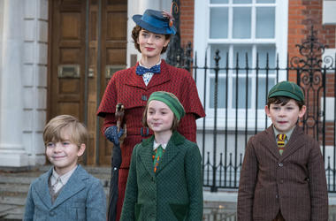Emily Blunt is Mary Poppins, Joel Dawson is Georgie, Pixie Davies is Annabel and Nathanael Saleh is John in Disney's MARY POPPINS RETURNS, a sequel to the 1964 MARY POPPINS, which takes audiences on an entirely new adventure with the practically perfect n