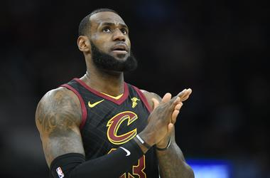Apr 25, 2018; Cleveland, OH, USA; Cleveland Cavaliers forward LeBron James (23) reacts in the first quarter against the Indiana Pacers in game five of the first round of the 2018 NBA Playoffs at Quicken Loans Arena. Mandatory Credit: David Richard-USA TOD