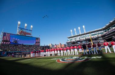 Apr 1, 2019; Cleveland, OH, USA; Jets fly overhead during the national anthem before the home opening game between the Cleveland Indians and the Chicago White Sox at Progressive Field. Mandatory Credit: Ken Blaze-USA TODAY Sports