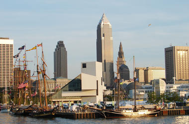 Cleveland's skyline offers visiting tall ships moored along the shore of Lake Erie. (Photo by Marjie Lambert/Miami Herald/MCT/Sipa USA)