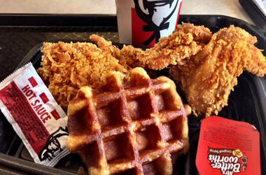 KFC's new chicken and waffle comes with a small, thick, Belgian-style waffle, two pieces of chicken and syrup. Ask for hot sauce on the side for something closer to the real chicken and waffle experience. Kathleen Purvis/Charlotte Observer/TNS/Sipa USA)