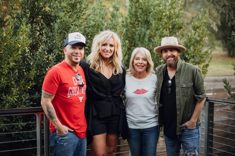 Chris Lucas (LOCASH), Clare Dunn, LITV CEO Bobbii Jacobs, and Preston Brust (LOCASH) at Brasswood Napa Valley during the 10th Anniversary Live In The Vineyard.