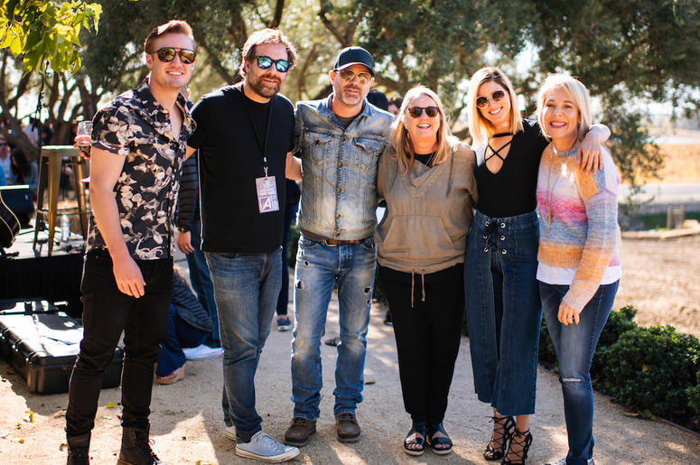 Seth Ennis, Phil Barton, Jon Randall, Liz Rose, Cassadee Pope and LITV CEO Bobbii Jacobs at LE Estates Nov. 4th during the 10th Anniversary Live In The Vineyard
