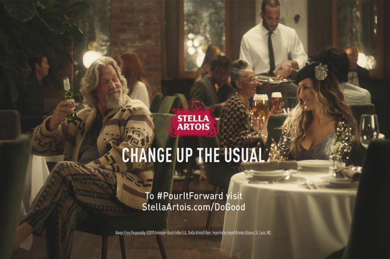 This undated image provided by Stella Artois shows a scene from the company's Super Bowl spot with Sarah Jessica Parker, right, and Jeff Bridges. Star power abounds in this year's Super Bowl ads. Sarah Michelle Gellar, for instance, is making a horror mov