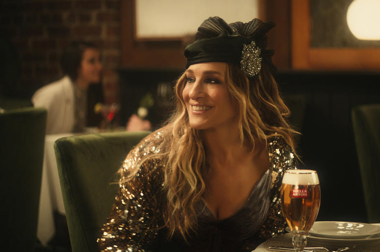 This undated image provided by Stella Artois shows a scene with Sarah Jessica Parke from the company's Super Bowl spot. Sarah Michelle Gellar makes a horror movie parody for Olay. Jeff Bridges and Sarah Jessica Parker tout Stella Artois. Steve Carrell haw
