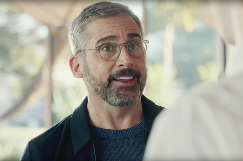 This screen grab from video provided by PepsiCo shows an image from the company's 2019 Super Bowl NFL football spot featuring Steve Carell. Star power abounds in this year's Super Bowl ads. (PepsiCo via AP)
