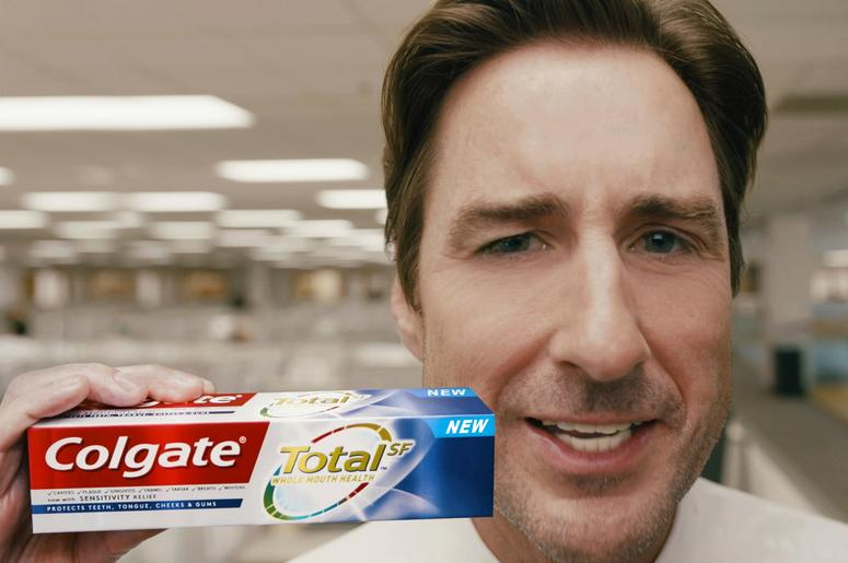 This undated image provided by Colgate Total shows an image from the company's 2019 Super Bowl NFL football spot featuring Luke Wilson. Star power abounds in this year's Super Bowl ads. (Colgate Total via AP)