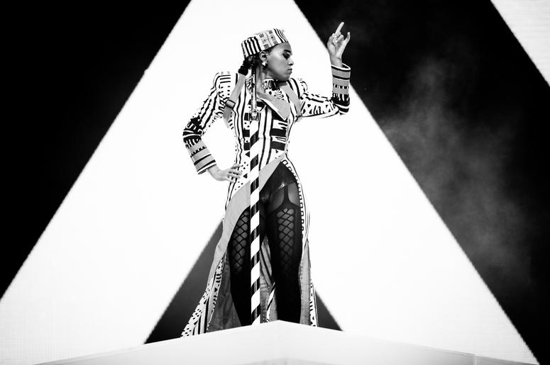 INDIO, CALIFORNIA - APRIL 12: (EDITORS NOTE: Image has been converted to black and white.) Janelle Monáe performs on Coachella Stage during the 2019 Coachella Valley Music And Arts Festival on April 12, 2019 in Indio, California. (Photo by Rich Fury/Getty