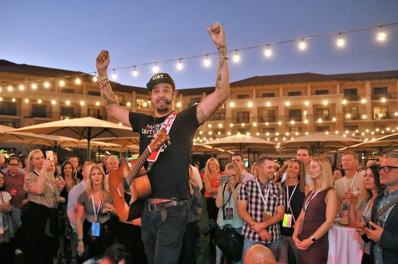 Michael Franti helped to kick-off the 10th Anniversary Live In The Vineyard during the Opening Reception at Vista Collina. Photo Credit: Will Bucquoy, Live In The Vineyard