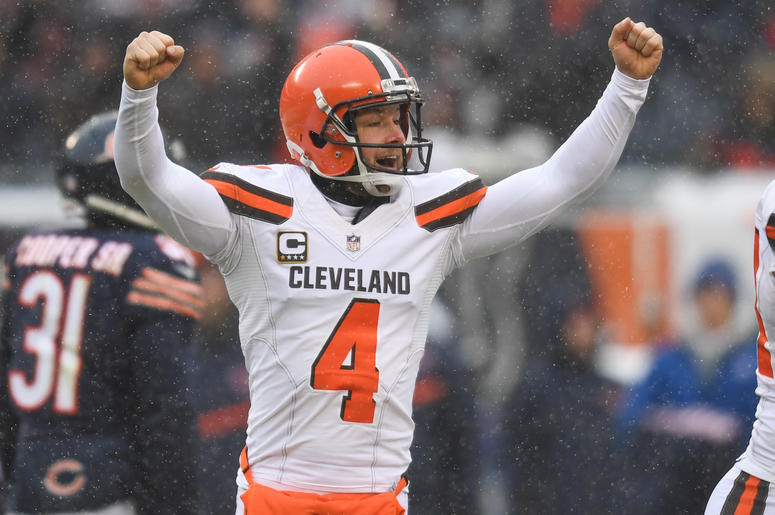 Dec 24, 2017; Chicago, IL, USA; Cleveland Browns punter Britton Colquitt (4) celebrates a field goal against the Chicago Bears during a game at Soldier Field. The Bears won 20-3. Mandatory Credit: Patrick Gorski-USA TODAY Sports