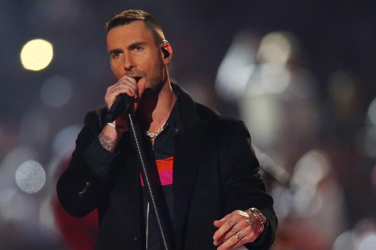 Feb 3, 2019; Atlanta, GA, USA; Recording artist Adam Levine performs at halftime in Super Bowl LIII between the New England Patriots and the Los Angeles Rams at Mercedes-Benz Stadium. Mandatory Credit: Mark J. Rebilas-USA TODAY Sports