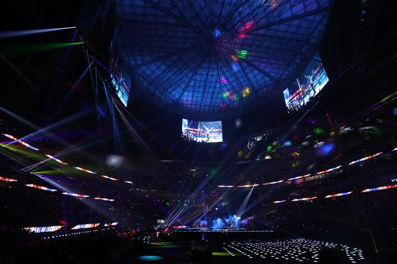 Feb 3, 2019; Atlanta, GA, USA; Maroon 5 performs during halftime of Super Bowl LIII between the New England Patriots and the Los Angeles Rams at Mercedes-Benz Stadium. Mandatory Credit: Jason Getz-USA TODAY Sports