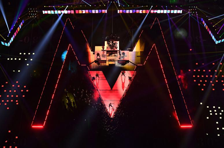 Feb 3, 2019; Atlanta, GA, USA; A general view as Maroon 5 performs during halftime in Super Bowl LIII between Los Angeles Rams and New England Patriots at Mercedes-Benz Stadium. Mandatory Credit: James Lang-USA TODAY Sports