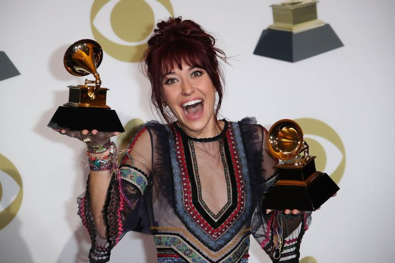 February 10, 2019; Los Angeles, CA, USA; Lauren Daigle, winner of Best Contemporary Christian Music Performance/Song for 'You Say', and Best Contemporary Christian Music Album for 'Look Up Child', poses in the photo room during the 61st Annual GRAMMY Awar