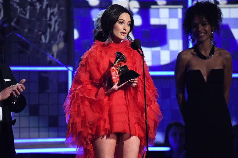 February 10, 2019; Los Angeles, CA, USA; Kacey Musgraves accepts the award for album of the year for 'Golden Hour' during the 61st Annual GRAMMY Awards on Feb. 10, 2019 at STAPLES Center in Los Angeles, Calif. Mandatory Credit: Robert Hanashiro-USA TODAY