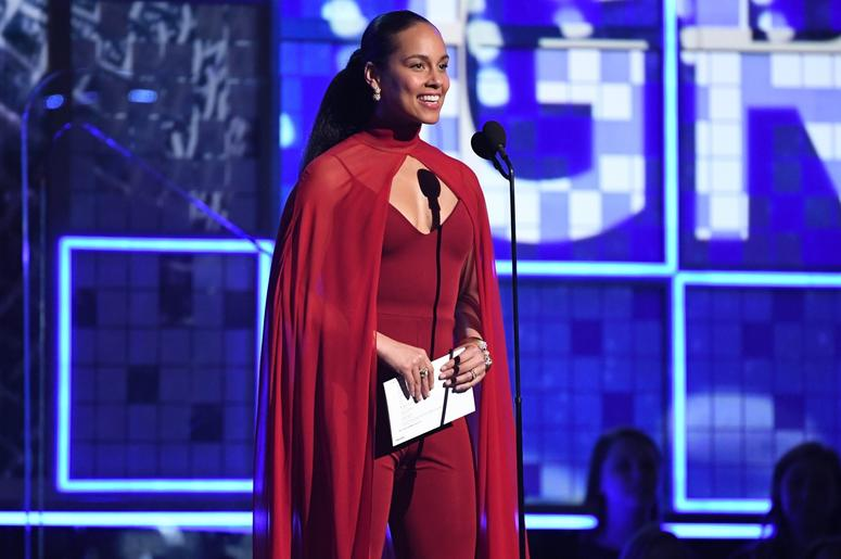 February 10, 2019; Los Angeles, CA, USA; Alicia Keys presents the Album of the Year award during the 61st Annual GRAMMY Awards on Feb. 10, 2019 at STAPLES Center in Los Angeles, Calif. Mandatory Credit: Robert Hanashiro-USA TODAY NETWORK