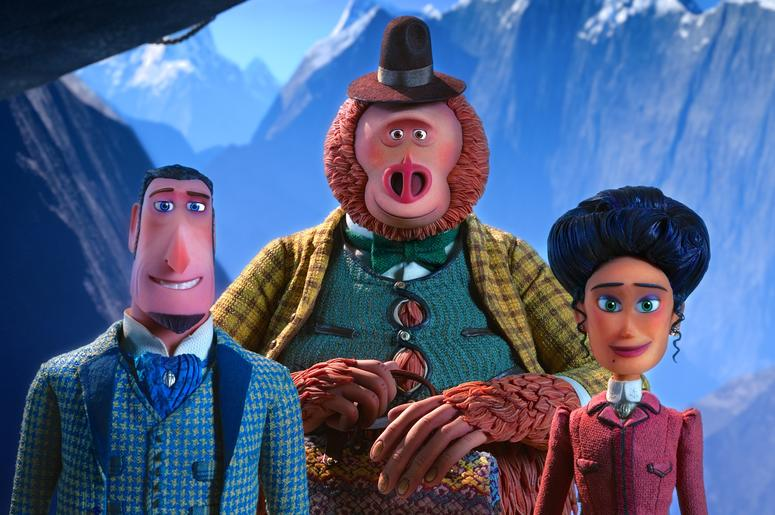 Sir Lionel Frost (left) voiced by Hugh Jackman, Mr. Link (center) voiced by Zach Galifianakis, and Adelina Fortnight (right) voiced by Zoe Saldana, in director Chris Butler's MISSING LINK, a LAIKA Studios Production and Annapurna Pictures release.