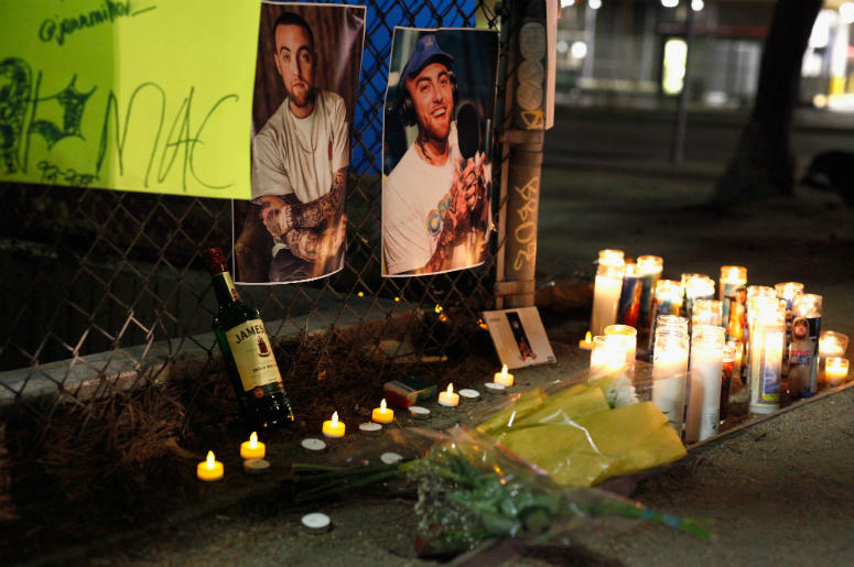 A makeshift memorial for late rapper Mac Miller appears at the corner of Fairfax and Melrose Avenues on September 8, 2018 in Los Angeles, California. Miller died of a suspected overdose on Friday, September 7.