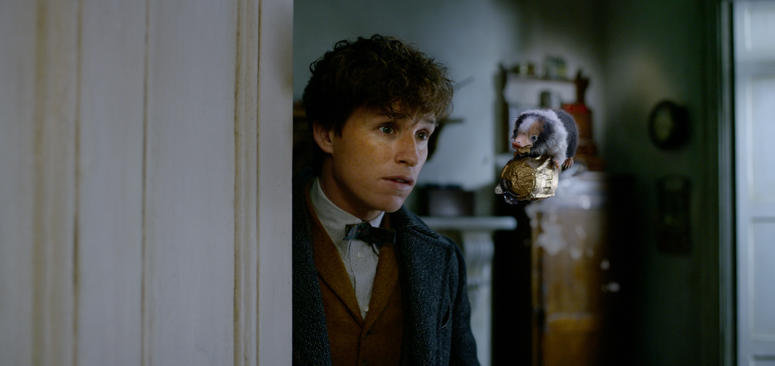 "EDDIE REDMAYNE as Newt Scamander and a Baby Niffler in Warner Bros. Pictures' fantasy adventure ""FANTASTIC BEASTS: THE CRIMES OF GRINDELWALD,"" a Warner Bros. Pictures release."