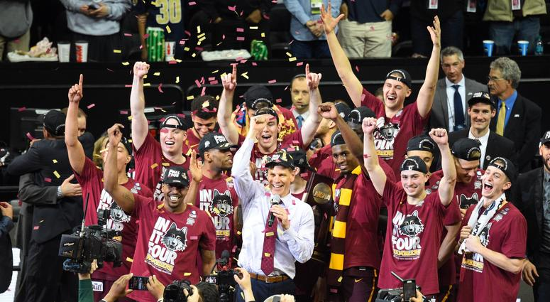Loyola celebrates its win against Kansas State in the Elite Eight