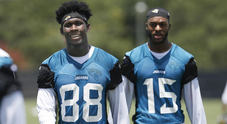 Receivers Allen Hurns, left, and Allen Robinson, right, then with the Jaguars