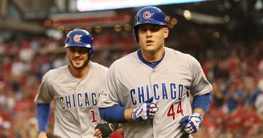 Cubs teammates Kris Bryant, left, and Anthony Rizzo