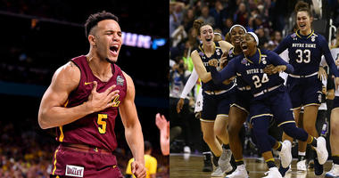 Left: Loyola's Marques Towns. Right: Notre Dame celebrates winning the national title.