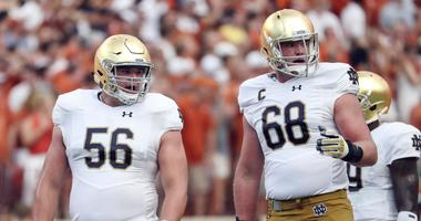 Notre Dame's Quenton Nelson, left, and Mike McGlinchey, right