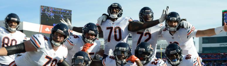 The Bears celebrate after scoring a touchdown.