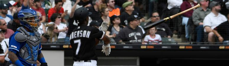White Sox shortstop Tim Anderson celebrates a homer against the Royals by tossing his bat.