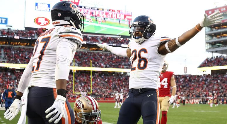 Bears defensive backs Sherrick McManis (27) and Deon Bush (26) celebrate after an incomplete pass sealed Chicago's win.