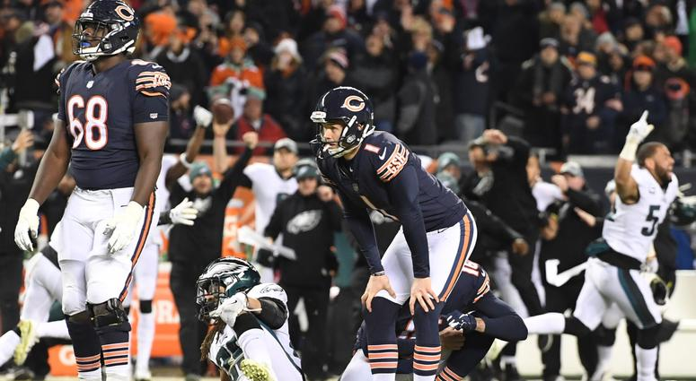 Bears kicker Cody Parkey (1) reacts after missing a field goal against the Eagles in the waning seconds.