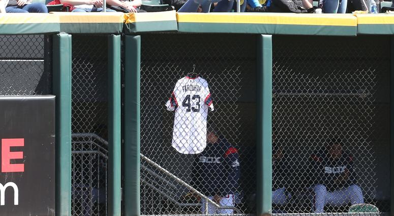 The jersey of Danny Farquhar hangs as he remains hospitalized after a brain aneurysm.