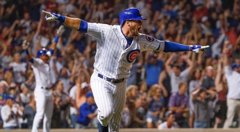 9caf0a934e41 Cubs infielder David Bote celebrate his walk-off grand slam against the  Nationals.