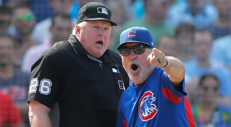 Cubs manager Joe Maddon argues and is eventually ejected.