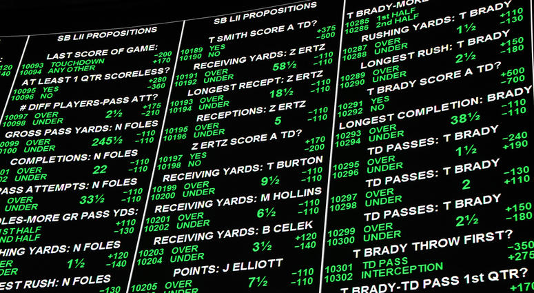 Super Bowl bets are displayed at the Race & Sports SuperBook at the Westgate Las Vegas Resort & Casino.