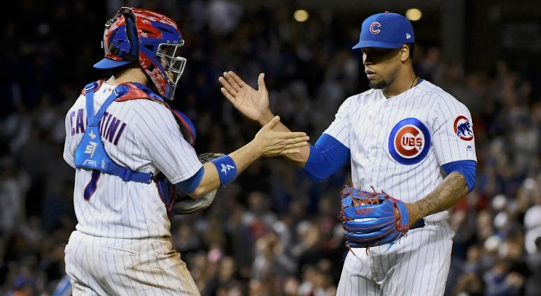 Cubs reliever Pedro Strop, right