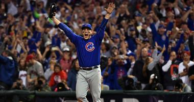 Anthony Rizzo celebrates after recording the final out to defeat the Indians in Game 7 of the World Series in 2016.