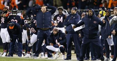 The Bears sideline reacts after Cody Parkey missed a game-winning field-goal attempt against the Eagles.