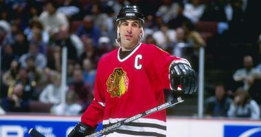 Chris Chelios with the Blackhawks in 1996