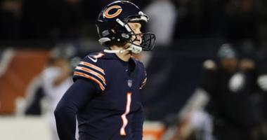 Bears kicker Cody Parkey reacts after missing a game-winning field goal attempt against the Eagles.