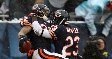 Matt Forte, left, and Devin Hester with the Bears in 2010