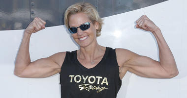 Olympian Dara Torres waits for the start of the practice session for the 42nd Toyota Grand Prix of Long Beach Press Day on April 5, 2016 in Long Beach, California.