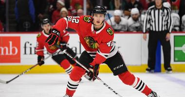 Blackhawks defenseman Gustav Forsling