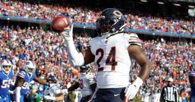 Bears running back Jordan Howard celebrates a touchdown.