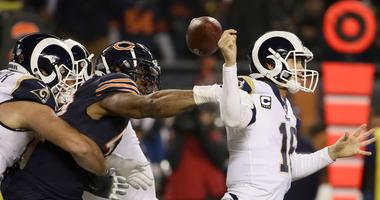 Bears edge rusher Khalil Mack strips the ball from Rams quarterback Jared Goff.