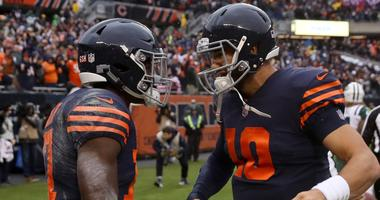 Bears receiver Anthony Miller, left, and quarterback Mitchell Trubisky celebrate a touchdown.