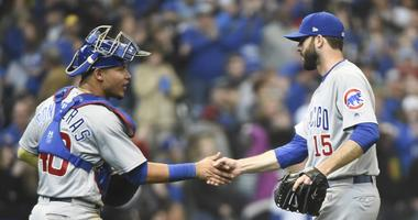 Cubs catcher Willson Contreras, left, and closer Brandon Morrow